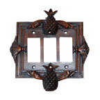 Hickory Manor House - Pineapple Triple Dimmer Switch Plate in Napol - Vintage original. Custom made by artisans unfortunately no returns allowed. Enhance your decor with this graceful switch plate. Made in the USA. Made of pecan shell resin. Weight: 1 lb.