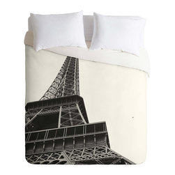 La Parisienne Duvet Cover - Add French cosmopolitan appeal to your bedding and evoke the sights and sounds of Paris with the La Parisienne Duvet Cover. A lush white background is filled with a photo-realistic representation of the Eifel Tower. Shot from below, the soaring height and grand curve of the tower are on full display. A chic choice, this duvet cover is machine washable, ensuring that it always looks and feels fantastic.