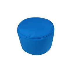 """Lava - Solid Sunbrella Pacific Blue Pouf - 12"""" Tall x 17"""" Round (Indoor/Outdoor) - 100% polyester cover, 100% polyestyrene bead fill. Suitable for use indoors or out. Made in USA. Spot clean only."""