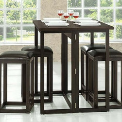 Wholesale Interiors - Baxton Studio Leeds 5-Piece Collapsible Pub Table Set - The smallest of apartments or dining spaces will use the features of the Leeds Pub Set to their fullest. This table and four stool set can be collapsed and set aside with nearly no space wasted.
