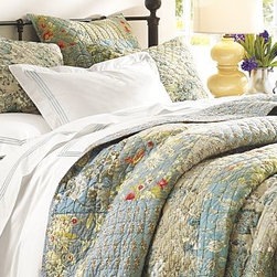 Neena Patchwork Quilt, Full/Queen - Our Asian-inspired Neena bedding features delicate florals and coordinating patterns in a patchwork design.Pure cotton.Pure cotton batting.Channel stitching enhances the quilt's loft.Standard sham is whole cloth; Euro sham is patchwork.Quilt and shams reverse to a boutis floral pattern.Sham has a tie closure; insert sold separately.Machine wash.Catalog / Internet only.Imported.