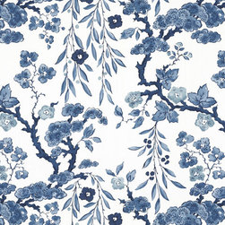 Tabley House Floral Wallcovering, Porcelain - I'm swooning over this traditional wallpaper.