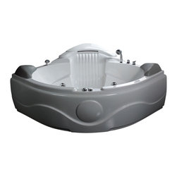 EAGO - EAGO AM505 61'' 2 Person 14 Jets Corner Waterfall White Whirlpool Bath Tub - We are very excited to offer you this breath taking AM505 EAGO whirlpool bath tub! Filled with cool gadgets and effects like the built in stereo waterfall and bottom jets. This tub features a beautiful design which will add the finishing touches to any bathroom. We are confident that you will indulge in a state of complete relaxation and tranquility with all the features that this tub has to offer. Be prepared to purchase luxury at its finest!