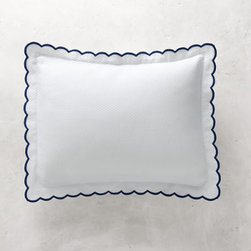 Grandin Road - Isabel Embroidered Scalloped Pillow Sham - Luxurious white bed coverlet and pillow sham with scalloped trim and solid color embroidered edges. Woven with a subtle quilted diamond texture. Made in Portugal from 100% combed cotton. All pieces are subjected to rigorous testing, so you can rest assured that your beautiful bedding investment will stand the test of time. Each coverlet and sham is sold separately. Finish your guest or master bed with the classic, clean design of the white Isabel coverlet and pillow sham detailed with romantic scalloped edges and colorful embroidered trim. The traditional diamond-quilted weave extends to the end of each rounded corner that's gracefully embellished with a solid color of embroidery. Use the sophisticated coverlet as a decorative bed topper, layer it as a blanket under the duvet or fold one at the end of the bed for use as an extra layer. Pillow sham is trimmed with a matching scalloped-and-embroidered edge flange.. . . . . Machine wash in cold water on gentle cycle; do not bleach. Tumble dry, low; iron as needed.