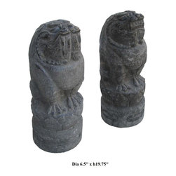 Pair Chinese Hand Carved Feng Shui Foo Dog Stone Statue - This is a pair of Feng Shui Foo Dog stone statues. The design is very unique and the carving is detailed. Foo Dog is considered the owner and the house protector in the Chinese culture. It can be placed by the gate or in the garden for decoration.