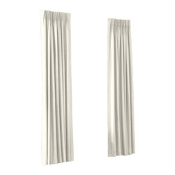 Ivory Cotton Sateen Custom Euro Pleat Drape Single Panel - Luxury meets functionality, tradition meets modernity in the Euro Pleated Drapery. Top-gathered pleats create a waterfall effect for an updated take on the classic pleat that's perfect for classic and modern rooms alike.  We love it in this ivory lightweight cotton sateen with a beautiful luster and smooth finish.