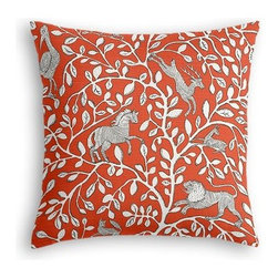 Red Modern Animal Motif Custom Euro Sham - The secret to those perfectly made beds you eye in magazines? Euro shams. Complete your bed set with a set of Simple Euro Shams for a look that's as stylish as it is snuggly.  We love it in this sketched African animal and vine motif in modern rust red. Be wild and wonderful!