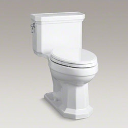 KOHLER - KOHLER Kathryn(R) Comfort Height(R) one-piece elongated 1.28 gpf toilet with Aqu - Capture the classic look of the 1930s with the Kathryn collection's angular lines and molded edges. This one-piece toilet features a convenient chair-like height and compact elongated bowl for comfortable use, as well as a concealed trapway for sleek looks and simple cleaning. A 1.28-gallon flush provides significant water savings of up to 16,500 gallons per year, compared to a 3.5-gallon toilet, without sacrificing performance. This tank features innovative AquaPiston technology, a patented flush engine that delivers a fast, powerful, and virtually plug-free flush.