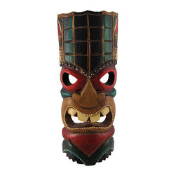 Brown Tiki Mask with Black, Green, Red Accents 11 In. - This brown tiki mask is hand crafted from wood and features black, green, and red accents. It measures approximately 11 inches tall, 4 1/2 inches wide, and has a hanger on the back. This mask looks great in your home or on your porch or patio, and it is a must-have for any tiki bar. It also makes a great gift for friends and family. NOTE: Since these masks are hand carved and hand painted, there may be slight color or facial differences from the pictures.