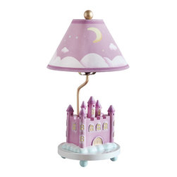 "Guidecraft - Guidecraft Princess Lamp 86307 - The Princess Collection Table Lamp is a dream come true for those who love a ""happily, ever after""! A hand-painted, resin royal castle and clouds sit on the base, and a moon and shooting stars decorate the pink and white lamp shade."