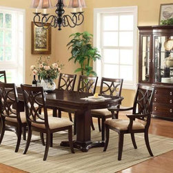 Crown Mark - 7-PC Katherine Transitional Dining Room Set in Dark Cherry Finish - - transitional style