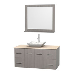 Wyndham Collection - 48 in. Single Bathroom Vanity in Gray Oak, Ivory Marble Countertop, Avalon White - Simplicity and elegance combine in the perfect lines of the Centra vanity by the Wyndham Collection . If cutting-edge contemporary design is your style then the Centra vanity is for you - modern, chic and built to last a lifetime. Available with green glass, pure white man-made stone, ivory marble or white carrera marble counters, with stunning vessel or undermount sink(s) and matching mirror(s). Featuring soft close door hinges, drawer glides, and meticulously finished with brushed chrome hardware. The attention to detail on this beautiful vanity is second to none.