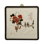 China Furniture and Arts - Beijing Water Painting - We commissioned an artist in Beijing, China who specializes in traditional Chinese water painting to create this soothing flower and birds painting. Inspired by its simplicity and elegance, its essence has been forever captured on paper and framed under glass, with a rounded dark brown wooden frame. Limited collections are available. Hanger included.