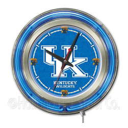 "Holland Bar Stool - Holland Bar Stool Clk15UKY-UK Kentucky ""UK"" Neon Clock - Clk15UKY-UK Kentucky ""UK"" Neon Clock belongs to College Collection by Holland Bar Stool Our neon-accented Logo Clocks are the perfect way to show your school pride. Chrome casing and a team specific neon ring accent a custom printed clock face, lit up by an brilliant white, inner neon ring. Neon ring is easily turned on and off with a pull chain on the bottom of the clock, saving you the hassle of plugging it in and unplugging it. Accurate quartz movement is powered by a single, AA battery (not included). Whether purchasing as a gift for a recent grad, sports superfan, or for yourself, you can take satisfaction knowing you're buying a clock that is proudly made by the Holland Bar Stool Company, Holland, MI. Clock (1)"