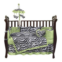 Sweet Jojo Designs - Green Zebra 9-Piece Crib Bedding Set - The Green Zebra 9-Piece Crib Bedding Set by Sweet Jojo Designs has all that your little bundle of joy will need. This bedding set features a super contemporary zebra print fabric paired with vivid solids to create a graphic, modern look. This collection uses the stylish colors of lime, black and white. The design uses 100% cotton fabrics that are machine washable for easy care.  This wonderful set will fit all cribs and toddler beds.