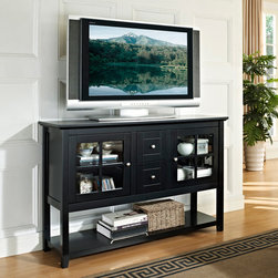 None - Black 52-inch Wood Console Table TV Stand - This stylish and contemporary wooden console table accommodates most flat-screened TVs up to 55 inches and is great for entertaining. Its black finish, decorative designs and multi-functional storage make it a perfect fit in any room in the house.