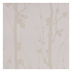 Graham & Brown - Solitude Wallpaper - When this paper is on the wall it is like looking into an enchanted forest. The silhouettes of branch and trunk, glistening mica on a white texture help create a feeling of inner calm and solitude