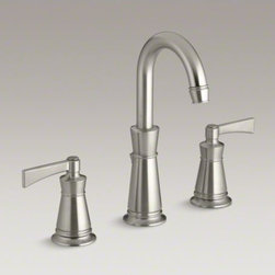 KOHLER - KOHLER Archer(R) widespread bathroom sink faucet with lever handles - The universal style of the Archer collection blends subtle design elements found in Craftsman furniture with the intricate facets of jewelry. This widespread Archer faucet combines smooth laminar water delivery with easy-to-clean and leak-free UltraGlide(
