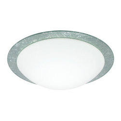 Besa Lighting - Besa Lighting 9772SFC Ring 1 Light Flush Mount Ceiling Fixture - Ring marries a clean white handcrafted glass diffuser with a decorative glass ring. Besas easy-to-use bayonet mount secures the glass diffuser to the aluminum fitter with a twist & lock action. Our Silver Foil glass is sparkling and metallic. Distressed metal foil is applied to the inner surface of a glossy clear blown glass. The silver color complements the soft white Opal cased glass, which can suit any classic or modern decor. Opal has a very tranquil glow that is pleasing in appearance, as the silver foil sparkles with the accents from that glow. The smooth satin finish on the opal's outer layer is a result of an extensive etching process. This blown glass combination is handcrafted by a skilled artisan, utilizing century-old techniques passed down from generation to generation.Features: