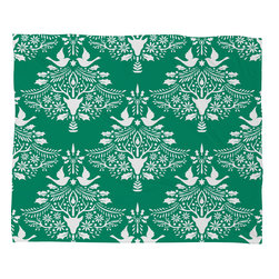 DENY Designs - DENY Designs Jacqueline Maldonado Christmas Paper Cutting Green Fleece Throw Bla - This DENY fleece throw blanket may be the softest blanket ever! And we're not being overly dramatic here. In addition to being incredibly snuggly with it's plush fleece material, you can also add a photo or select a piece of artwork from the DENY Art Gallery, making it completely custom and one-of-a-kind! And when you've used it so much that it's time for a wash, no big deal, as it's machine washable with no image fading. Plus, it comes in three different sizes: 80x60 (big enough for two), 60x50 (the fan favorite) and the 40x30. With all of these great features, we've found the perfect fleece blanket and an original gift!