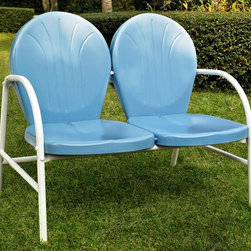 Crosley Furniture - Metal Loveseat in Sky Blue - UV resistant. Warranty: 90 days. Made from steel. Non-Toxic powder coated finish. Assembly required. 41.13 in. W x 29.5 in. D x 34.5 in. H (29 lbs.)Relax outside for hours on our nostalgically inspired Griffith metal outdoor furniture. Kick back while you reminisce in this sturdy steel loveseat, designed to withstand the hottest of summer days and other harsh conditions. The loveseats non-toxic, powder-coated finish is available in various colors to complement your outdoor accessories.