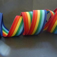 Rainbow Stripe Ribbon 7/8 inch red yellow orange by tuteesribbon