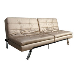 "Acme - Devan Champagne Leather-Like Upholstered Small Space Sofa Futon Bed - Devan champagne leather like upholstered small space apartment size adjustable sofa futon bed with accented stitching. This set features a leather like upholstery and a folding back to lay flat to convert to a sleep area. Measures when flat 70"" x 43"" x 17""H. Measures when upright 70"" x 36"" x 32""H. Some assembly required."
