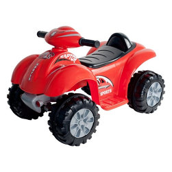 Lil Rider - Lil' Rider Battery Powered Red Raptor 4 Wheel - Bright Colors: Red. Sound Effects. Battery: 6V 4.5AH. Motor: 6V 15W. Includes charger (charges fully in 12 hours for 1-2 hours of use). Speed: 1.75 mph. Forward and reverse. Ages: 2-4 years. Weight capacity: 40 lbs.. Dimensions: 26.375 in. L x 17 in. W x 17.75 in. HThe egg has hatched and the Red Raptor has spread its wings for take off! To moms of 2-4 year olds, Lil' Rider Battery Powered Red Raptor 4 Wheeler lets kids soar into new adventure and role play of riding their Red Raptor ATV. This is a toy that your kid will not stop talking about. You will be the leader of the flock on the block with one of the coolest ATVs ever made.