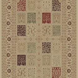 """Concord Global - Concord Global Imperial Magnificent Panel Ivory 6'7"""" x 9'6"""" Rug (1232) - Rugs in the Imperial Collection are reproductions of the antique carpets that were made in Turkey, Iran and France. Their mellow tones are suited for any color scheme."""