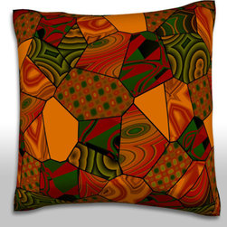 Custom Photo Factory - Abstract Brown's Quilt Pillow.  Polyester Velour Throw Pillow - Abstract Brown's Quilt Pillow. 18 Inches x 18  Inches.  Made in Los Angeles, CA, Set includes: One (1) pillow. Pattern: Full color dye sublimation art print. Cover closure: Concealed zipper. Cover materials: 100-percent polyester velour. Fill materials: Non-allergenic 100-percent polyester. Pillow shape: Square. Dimensions: 18.45 inches wide x 18.45 inches long. Care instructions: Machine washable