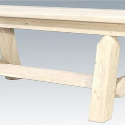 Montana Woodworks - 72 in. Wooden Bench - Plank style. Hand crafted. Sawn square timbers and trim pieces for rustic timber frame design. Heirloom quality. Edge glued panels. Solid lodge pole legs and cross support. Made from U.S. solid grown wood. Lacquered finish. Made in U.S.A.. No assembly required. 72 in. L x 12 in. W x 18 in. H (50 lbs.). Warranty. Use and Care InstructionsFrom Montana Woodworks, the largest manufacturer of handcrafted quality log furnishings in America comes the all new Homestead Collection line of furniture products. The lodge pole pine rails gives this bench that extra touch of rustic appeal and charm. Each piece signed by the artisan who makes it.