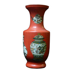 Golden Lotus - Chinese Asian Orange Base Vase Graphic Porcelain Vase - This porcelain vase has a oriental orange base color and artistic asian motif vase shape graphic as an accent.