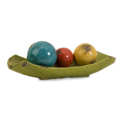iMax - Mercade Decorative Ceramic Balls in Tray, Set of 4 - A vibrant multicolored arrangement of 3 decorative balls displayed in a lime green tray.