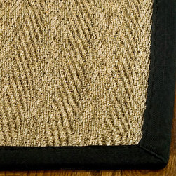 Safavieh - Hand-woven Sisal Natural/ Black Seagrass Rug (6' Square) - Made from natural seagrass,this hand-woven rug has an organic feel that will lend a beach-inspired look to any room in your home. Accented by a bold espresso finish,this textured rug sets the stage for your red sofa or white-washed dining room table.