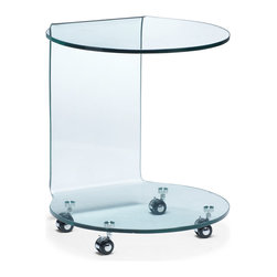 ZUO MODERN - Mission Side Table Clear Glass - Perfect for the side or into the from of a sofa, the Mission is made of bent semi-tempered glass with rolling casters.