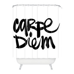 DENY Designs - Kal Barteski Carpe Diem Shower Curtain - You'll be ready to go forth and conquer when you surround yourself with this shower curtain. Bold black script makes a definitely affirmative statement against the white woven polyester. Grab some energy and style.