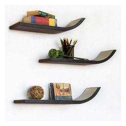 Blancho Bedding - [Dark Brown] Stylish J Type Leather Wall Shelf / Floating Shelf (Set of 3) - These beautifully crafted J Shaped Wall Shelves display the art of woodworking and add a refreshing element to your home. Versatile in design, these leather wall shelves come in various colors and patterns. They spice up your home's decor, and create a multifunctional storage unit for all around your home. These elegant pieces of wall decor can be used for various purposes. It is ideal for displaying keepsakes, books, CDs, photo frames and so much more. Install as shown or you may separate the shelves to create a layout that suits your taste and your style. Each box serves as a practical shelf, as well as a great wall decoration.