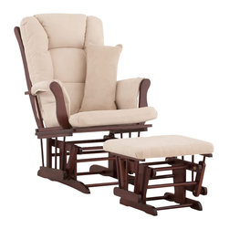 Stork Craft - Stork Craft Tuscany Glider and Ottoman with Free Lumbar Pillow in Cherry with Be - Stork Craft - Rocking Chairs Rockers - 06554514 - Available in 6 wood finishes and 4 fabric combinations to create your own custom Tuscany Glider and Ottoman. The Stork Craft Tuscany Glider and Ottoman set offers gentle motion while feeding your baby in those early morning hours. Featuring a solid construction with a magical sleigh design this is a royal centerpiece for your nursery. The enclosed metal ball-bearings allow for an incredibly smooth motion to glide your baby back to sleep. Micro fiber spot-cleanable cushions ease the worry about spills while the construction offers an exquisite finish you'll appreciate far beyond the baby years. The Tuscany Glider comes with a matching soft plush lumbar support pillow for supporting your baby during feeding times.