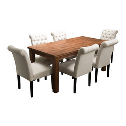 Great Deal Furniture - Lorcan 7pc Indoor Dining Set - Furnish your entire dining room with the Lorcan 7pc Dining Set. This set is comprised of one dining table made from solid  acacia wood, stained in a rich java color, surrounded by 6 ivory colored fabric dining chairs. The contrasting colors and materials evoke a contemporary feel that combines the rustic feel of the table with the French inspired details of the fabric chairs. Together, this set creates a unique and eye catching setting for your dining experience.