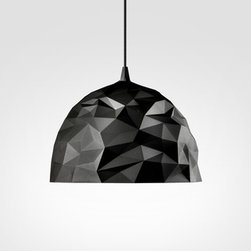 Luminária Rock - Here's a moody light. The irregular faceted sides of this pendant look like crumpled paper. I can imagine this lending plenty of drama to a rustic-modern kitchen.