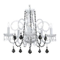 The Gallery - Murano Venetian-Style All-Crystal Chandelier with Black Crystal Beads - Why hold back? This chandelier goes all out for glamor and elegance in your favorite formal setting. The sparkle of diamond-bright crystals becomes even more breathtaking with hints of dramatic jet black.