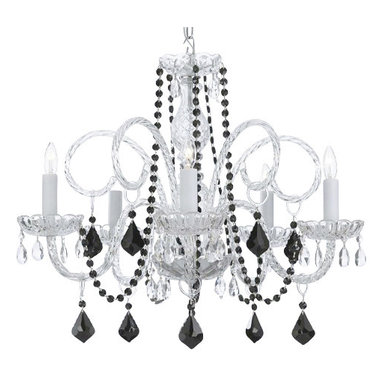 The Gallery - Murano Venetian style All-Crystal chandelier with Black Color Crystal - Why hold back? This chandelier goes all out for glamor and elegance in your favorite formal setting. The sparkle of diamond-bright crystals becomes even more breathtaking with hints of dramatic jet black.