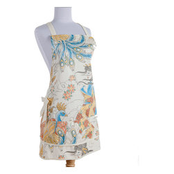 Sin in Linen - Geisha Garden Apron - This beautiful tattoo print features images of coi fish, peacocks and geishas in a utopian garden of cherry blossoms.