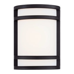 "Minka Lavery - Arts and Crafts - Mission Bay View 9 1/2"" High Oil Rubbed Bronze Outdoor LED Lig - Bay View Collection small contemporary wall sconce. Oil-rubbed bronze finish. Etched opal glass. Includes one 13 watt GU24 spiral CFL bulb. 9 1/2"" high. 7"" wide.  Bay View LED outdoor wall light.  Oil-rubbed bronze finish.  Etched opal glass.  Built-in LED array.  Uses only 14 watts of energy.  Light output of 1200 lumens.  California Title 24 compliant.  Comparable to a 60 watt incandescent bulb.  Rated at 2700K.  Not dimmable.  9 1/2"" high.  7"" wide.  Extends 4 1/2"" from the wall."