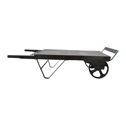 McKinley Coffee Table - A beautiful mango wood coffee table with raw iron components and a classic cart design. This is a large, eye-catching display piece or for any living area or retail setting.