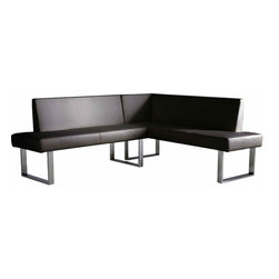 Armen Living - Amanda Corner Sofa in Black - Contemporary lifestyle comes to in full circle with the beautifully designed Amanda Corner Dining Set.