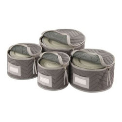 """Richards Homewares Inc - Quilted Gray China Storage - Your fine china never had better protection than with our Quilted Gray China Storage cases. Vinyl cases can cause oxidation of gold accents. Our cases are made of microfiber and have a full zipper. Each set includes a case that holds 12 dinner plates salad plates dessert plates and saucers. Includes dividers for between plates. A bonus- each case has a slot for a label so you dont have to guess whats inside and cushioned dividers for between the plates.Dinner plate case: 12"""" DIA.Salad plate case: 9.5"""" DIA.Dessert plate case: 8"""" dia.Saucer case: 7"""" diameter"""