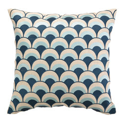 "DL Rhein - DL Rhein Double Arches Navy/Sky Embroidered Pillow - Channeling retro-inspired style, the DL Rhein Double Arches pillow delivers geometric glamour. This decorative accessory's navy and sky blue embroidery pops in a striking curved pattern. 20""W x 20""H; 100% ramie; Dry clean only; Feather-down fill insert included"