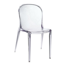 LexMod - Scape Dining Side Chair in Clear - Embark on a roller coaster ride through the cosmos. Scape brings those fun filled adventures of youth into crisp transcendence. Initiate your own space program of discovery with a shimmering acrylic form and space vessel look.