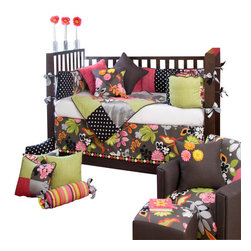 Glenna Jean - Kirby Crib Bedding Set 3-Piece Set - The Kirby Baby Crib Bedding Set by Glenna Jean features is a classic combination of stylishly fun colors and creative design.  Fresh floral in avocado and raspberry is offset by an ash background.  Silvery-gray silk dupioni is patched with woven cottons and soft velvets to create a fun colorful nursery with limitless mix and match possibilities.